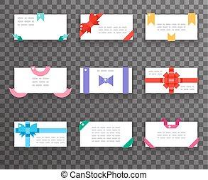 toile, ensemble, cadeau, icônes, mobile, enveloppe, apps, salutation, plat, vecteur, conception, illustration, cartes, rubans, arcs, rouges