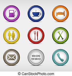 toile, ensemble, coloré, service, icônes, rond