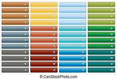 toile, ensemble, combinaison, couleur, boutons, flèche