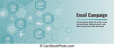 toile, ensemble, commercialisation, -, campagnes, en-tête, bannière, email, icône