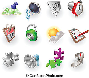 toile, ensemble, couleur, dynamique, application, icône