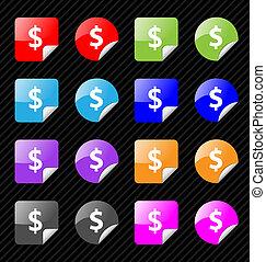 toile, ensemble, eau, dollar, theme., collant, monnaie, vecteur, facile, size., 2.0, n'importe quel, insignes, éditer