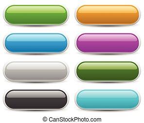 toile, ensemble, elements., espace, arrière-plans, texte, bouton, plus court, message., clair, conception, coloré, bannière, ton, vide