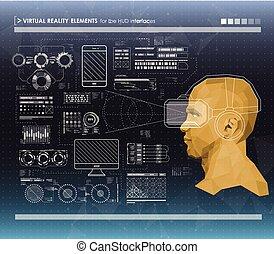 toile, ensemble, elements., head-up, app., infographic, noir, utilisateur, interface., blanc, éléments, exposer, futuriste