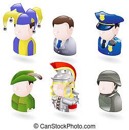 toile, ensemble, gens, avatar, icône