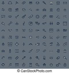 toile, ensemble, gris, professionnel, 100, icône
