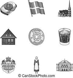 toile, ensemble, gypse, icônes, collection., danemark,...