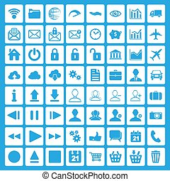 toile, ensemble, icônes, arrière-plan bleu, multimédia, business
