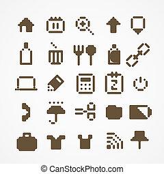 toile, ensemble, icônes, collection., 3, pixel