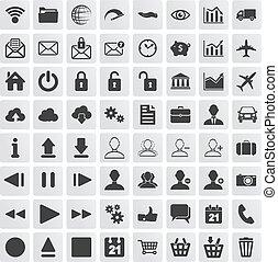 toile, ensemble, icônes, fond, multimédia, blanc, business