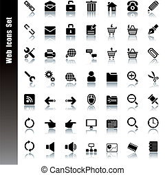 toile, ensemble, icônes