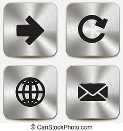 toile, ensemble, icônes, métallique, boutons, vol1