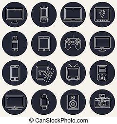 toile, ensemble, icônes, mobile, apps, appareils, conception, ligne mince