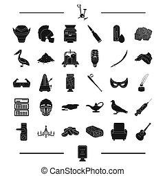 toile, ensemble, icônes, nourriture, collection., dessert, style.baseball, annonce, noir, temps, autre, icône