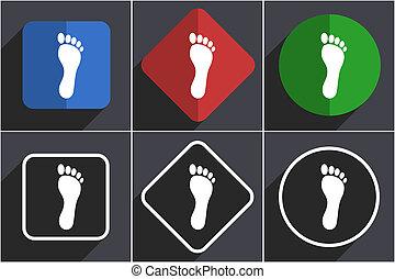 toile, ensemble, icônes, plat, conception, 6, pied, options