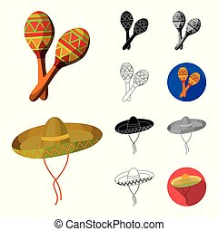 toile, ensemble, illustration., icônes, pays, symbole, mexique, collection, dessin animé, vecteur, repère, design., stockage