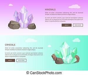 toile, ensemble, illustration, vecteur, cristaux, minéraux