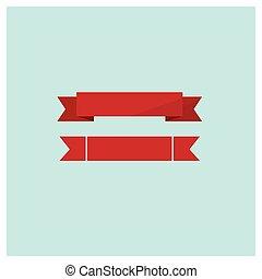 toile, ensemble, illustration, vecteur, rubans, rouges