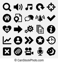 toile, ensemble, jeux, icônes