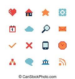 toile, ensemble, pixel, icônes