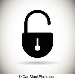 toile, ensemble, serrure, accès, sécurité, ouvert, icône
