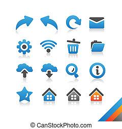toile, ensemble, simplicité, série, -, icône internet