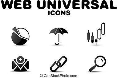 toile, ensemble, universel, noir, lustré, icône