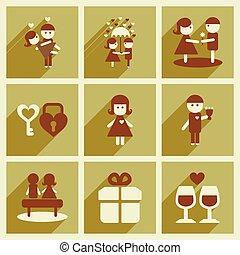 toile, ensemble, valentine, icônes, long, plat, ombre, jour