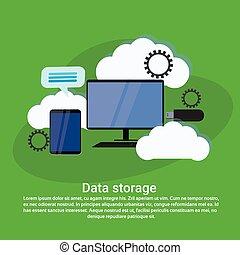 toile, espace, données, calculer, stockage, gabarit, services, copie, bannière, nuage