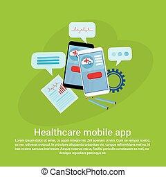 toile, espace, mobile, app, gabarit, healthcare, copie, bannière
