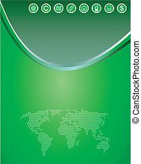 toile, espace, vecteur, arrière-plan vert, copie