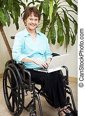 toile, fauteuil roulant, surfer