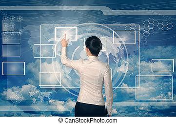 toile, femme affaires, poussée bouton, virtuel, interface