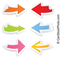 toile, flèches, illustration, vecteur, collection, design.
