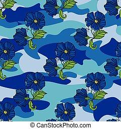 toile, fleur, ton, illustration., pattern., seamless, camouflage, impression, exotique, arrière-plan., vecteur, camo, tropique, fleurs, clothing., conception, reprise