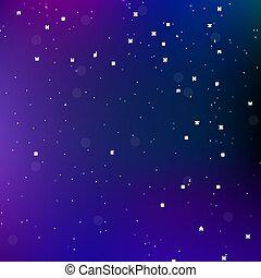 toile fond., espace, univers, résumé, ciel, stars., vecteur, fond, nuit, illustration.