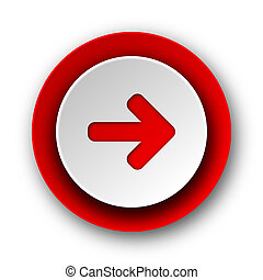 toile, fond, moderne, icône, droit, flèche rouge, blanc