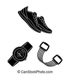 toile, formation, ensemble, illustration., icônes, gymnase, collection, bitmap, équipement, noir, design., symbole, stockage
