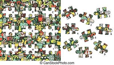 toile, game., visuel, solution, morceaux, layer!, icons:, caché, allumette