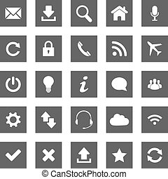 toile, gris, icônes