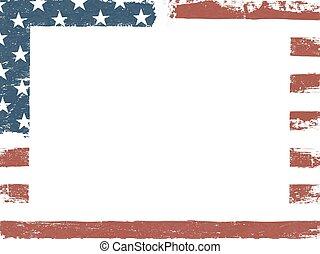 toile, grunge, blanc, américain, template., arrière-plan., drapeau, conception, patriotique, horizontal, composition, vide