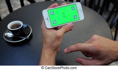toile, horizontalement, écran, étiquettes, rouleau, téléphone, iphone, blanc vert, par, pages