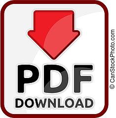 toile, icône, téléchargement, pdf