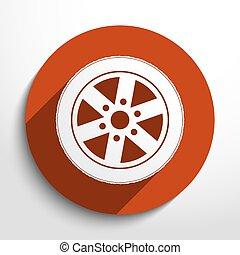 toile, icon., vecteur, pneu
