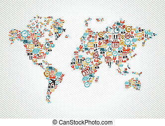 toile, illustration., coloré, icônes, expédition, livraison, carte, mondiale