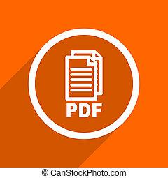 toile, illustration, mobile, app, button., plat, conception, orange, pdf, icon.