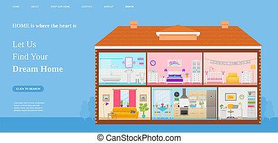toile, illustration., plat, template., vecteur, conception, maison, rêve, trouver, page