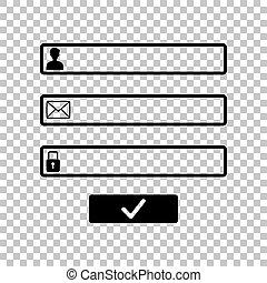 toile, illustration., signe., page, arrière-plan., fenêtre, noir, login, navigateur, transparent, icône