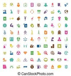 toile, industrie, ensemble, 100, icônes