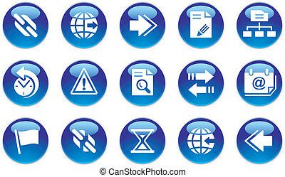 toile, interface, icônes, ensemble